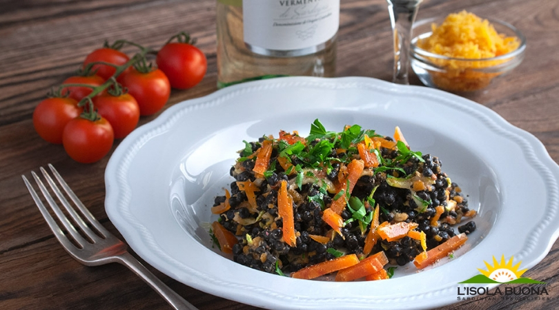 Squid ink fregola pasta with courgettes and grey mullet roe - Click here to view this news entry