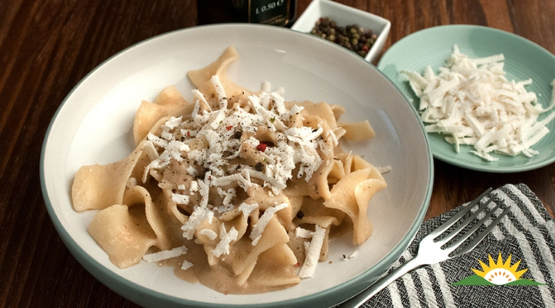 Organic Taccone pasta with salted Ricotta and organic Artichoke and Walnut sauce - Click here to view this news entry