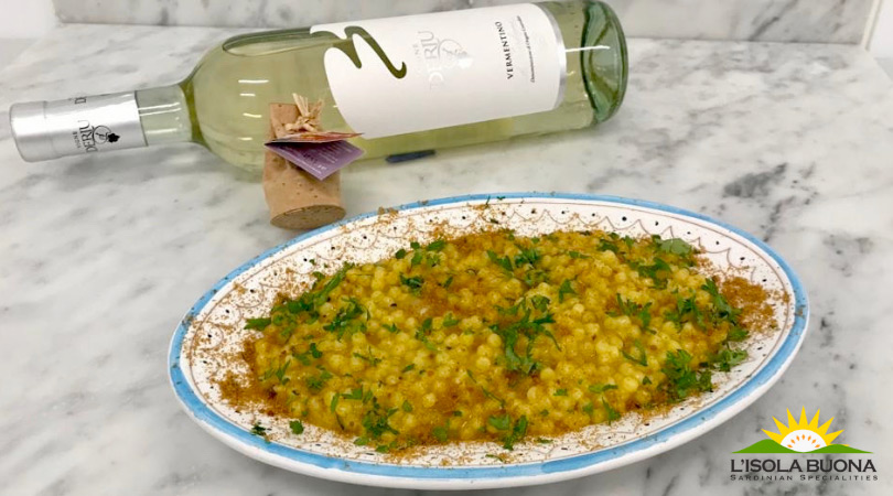Mullet roe and saffron fregola. - Click here to view this news entry