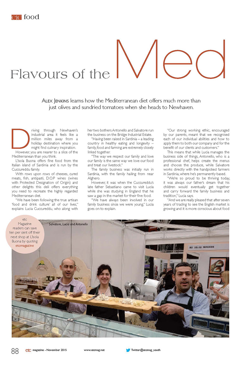 New Organic Italian deli & online shop – November 2015 … In Etc. Magazine! - Click here to view this news entry